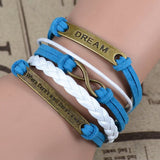Where There's a Will There's a Way Handmade Infinity Anchor Rudder Charm Bracelet Multilayer Woven Women Men Bracelet