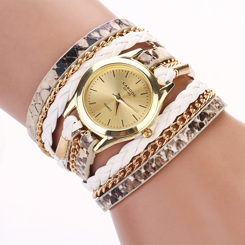 Hot sell Leopard grain woven new fashion design new arrive women luxury brand quartz wristwatch women dress watches
