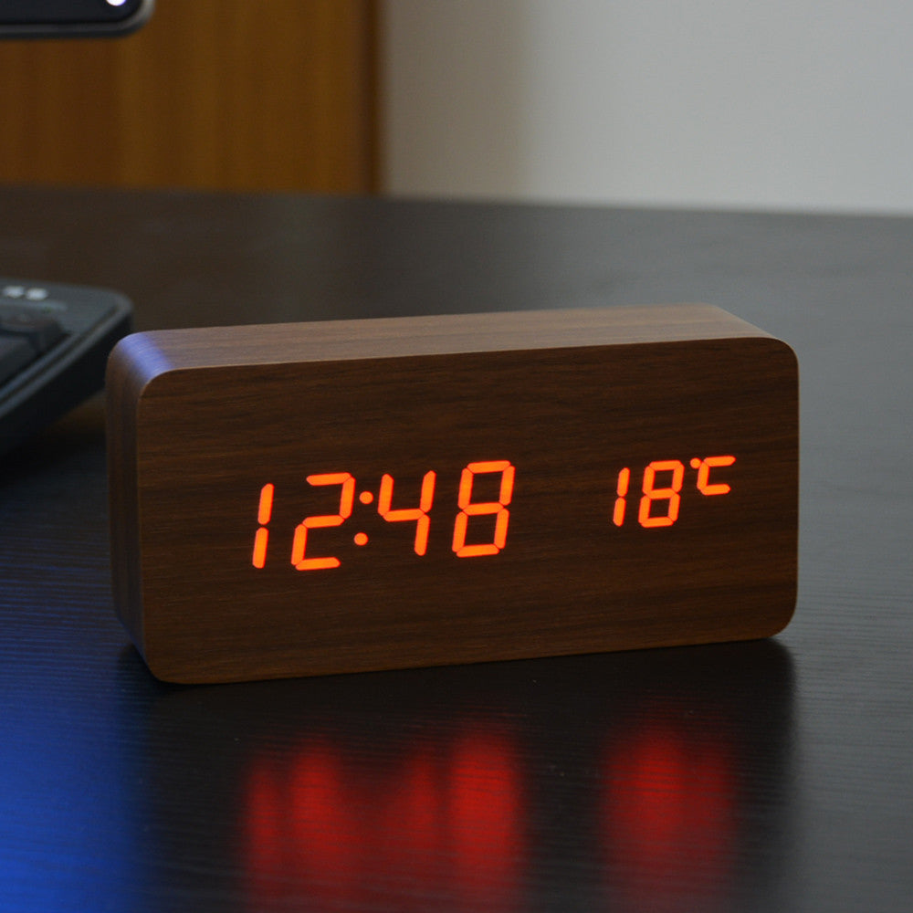 White LED wooden Board alarm clock+Temperature thermometer digital watch voice activated,Battery/USB power