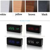 White LED wooden Board alarm clock+Temperature thermometer digital watch voice activated,BatteryUSB power
