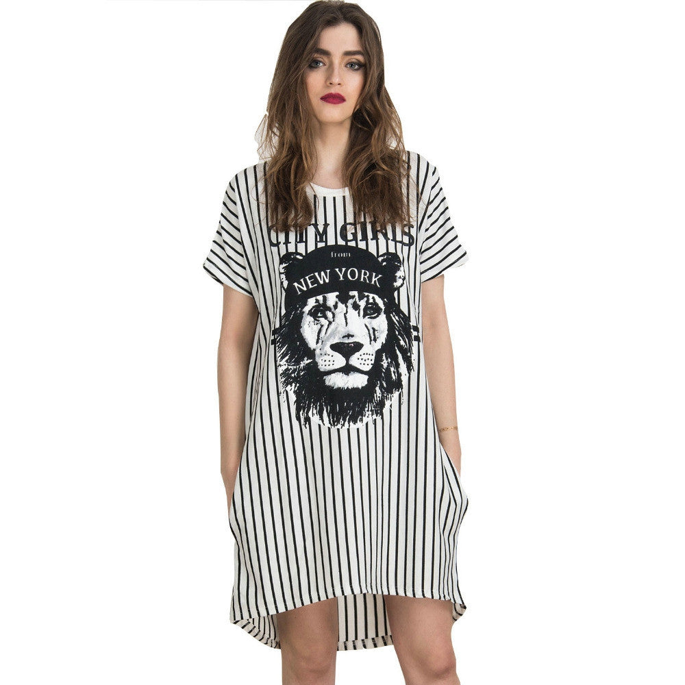 White Stripes Lion Animal Prints Short Sleeve Staight Shift Mini Jersey Casual Long t shirt Dress Summer New Women Fashion