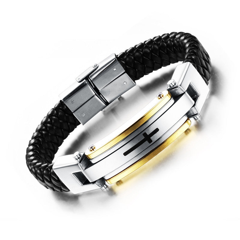 New fashion fine jewelry men cross leather stainless steel bracelets vintage bangle male accessories gifts