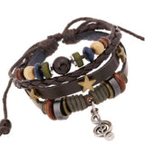 Bronze Star Rivets Cowhide Women Bracelets Charm Musical Notes Bracelet Pendants Leather Braided Snake Chain Bracelet