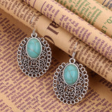 Fashion Retro New Heart Turquoise Crystal Inlay Flower Pendant Necklace Dangle Earrings Jewelry Set Gift for Women