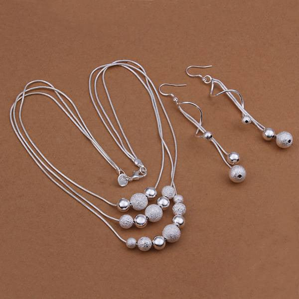 Silver plated Jewelry Set,silver Fashion Jewelry,Sand Light Bead Necklace+Earring Two Piece Set