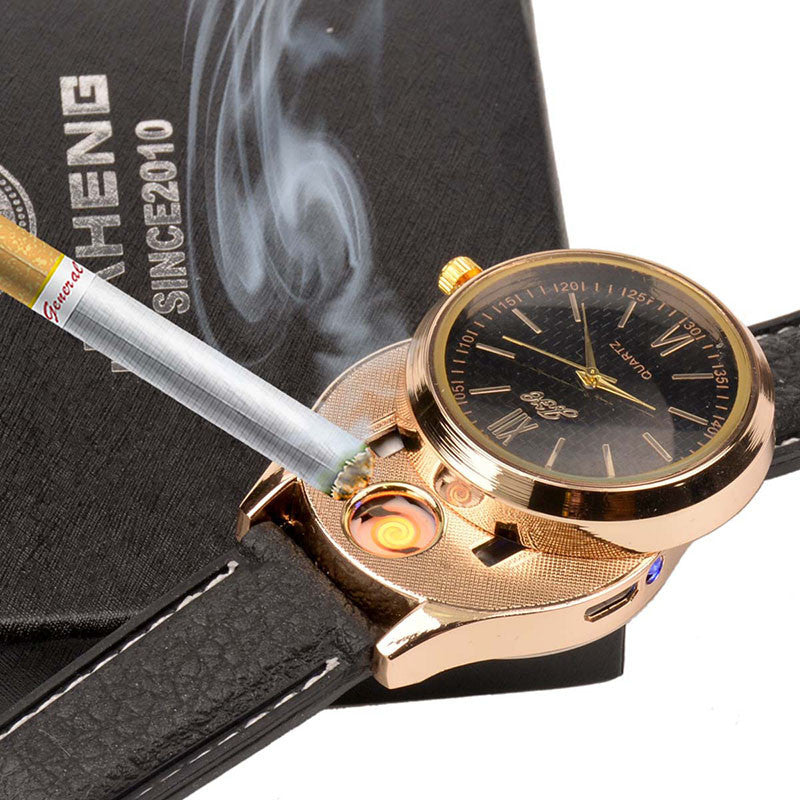 New Windproof Flameless USB Lighter Watch Electric Quartz Watches Men Women Luxury Wristwatches + Rechargeable Cigarette Lighter