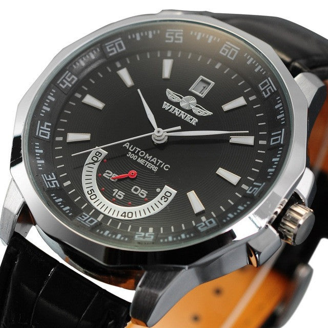 Winner Mechanical Black High Quality Leather Calendar Automatic Watch Clock Men Sports Watches