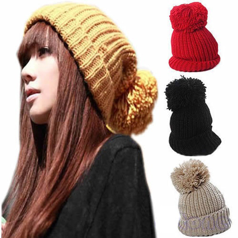 Spring Beret female beanie women hats Skull Chunky Baggy Knitting Cap Warm Beanies Crochet Ski Hat skullies Christmas gift