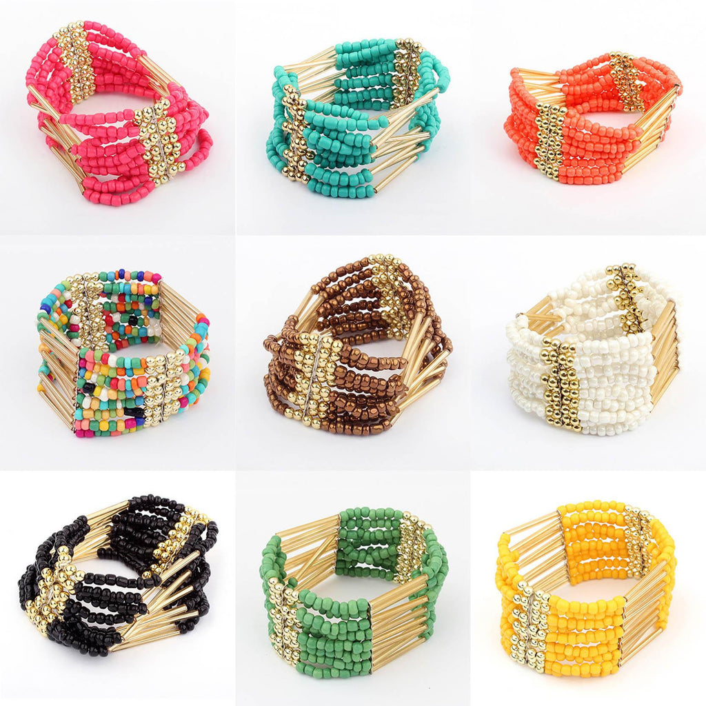 Woman Jewelry Fashion Bohemia Style Multilayer Metal bracelet Colorful Beads Tassel bracelets & bangles