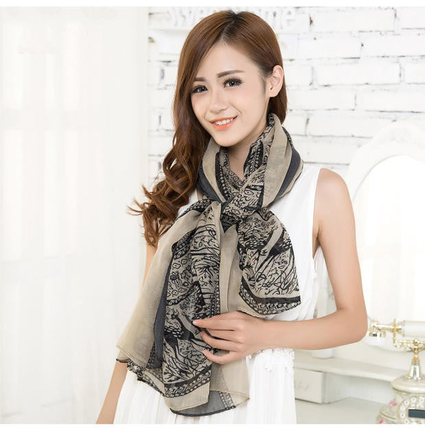 Woman hot sell fashion Totem female Korean version of the new chiffon and cotton scarf shawl clothing leopard