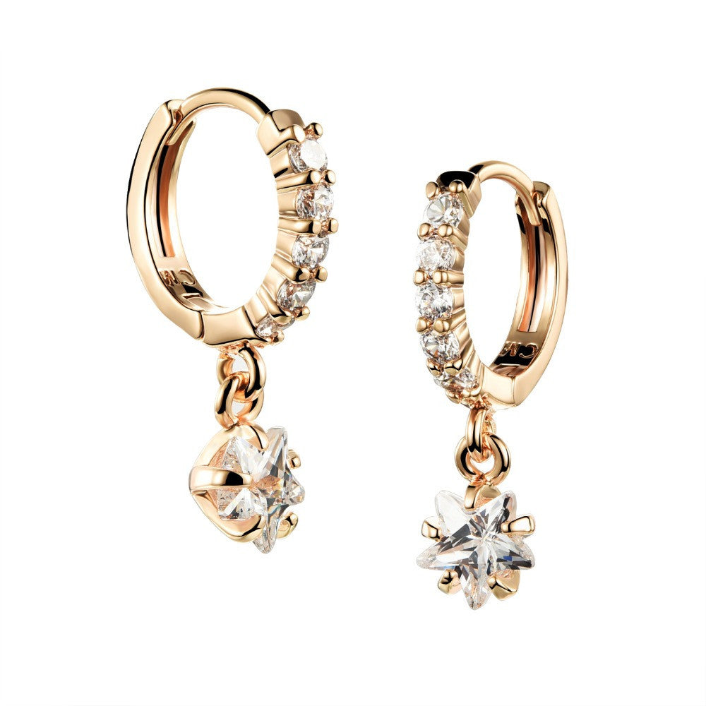 Women Crystal Earring Jewelry 18K Gold Plated Stud Earrings For Women Big Stud Earrings With Stars