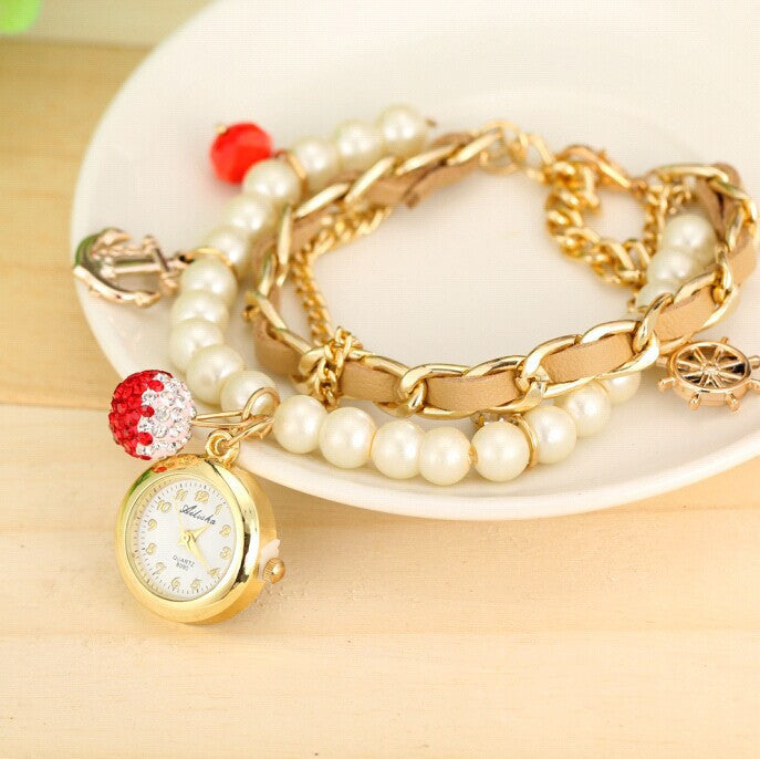 Women Fashion Watch Bracelet Vintage Watch Rudder Anchor Lady dress Wristwatches
