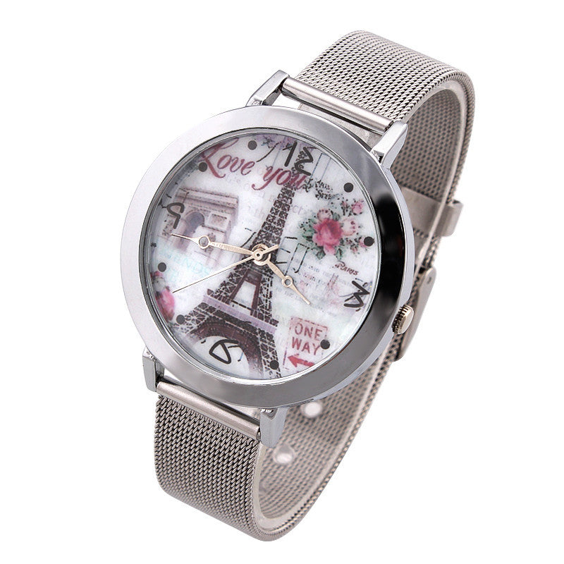 Women Watches Flower Tower Dial Vintage Watch Lady Quartz Wristwatches
