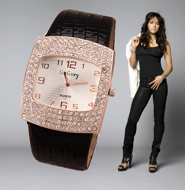 Women's Crystal Pu Leather Watch Quartz Hot Fashion Gogoey Wristwatch Analog Rhinestone Luxury High Quality Ladies Mujer Relojes