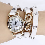 Women's Girl's Fashion Rhinestone Leather Band Bracelet Quartz Wrist Dress Watch