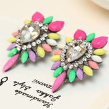 Women's fashion big Colorful earrings New arrival brand sweet metal with gems stud crystal earring for women girls