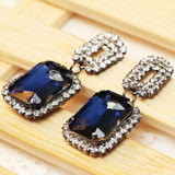 Women's fashion bring blue earrings New arrival brand sweet metal with gems stud crystal earring for women girls