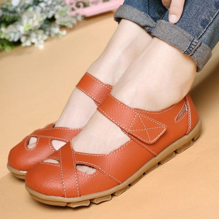 New fashion shoes woman genuine leather shoes women flats causal sandal round toe flexible ballet loafer