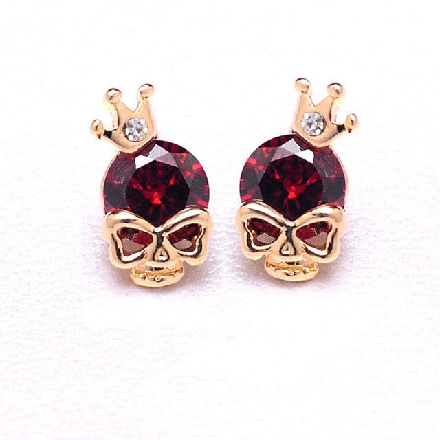 Women Cute 18k Gold Plated 3 Colors CZ Diamond Skull Pierced Stud Party Earrings Jewelry Gift