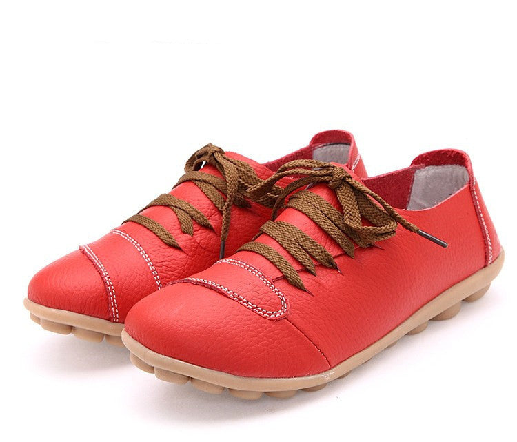 Women Genuine Leather Shoes Woman Hand Made Casual Shoes Fashion Lace up Round Toe Women Flats Soft Mother Shoes