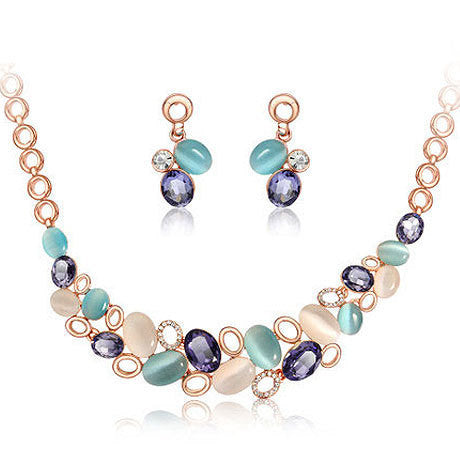 Women Wedding Jewelry Set New Design Rhinestone Crystal Necklace Gem Opal Necklaces Earrings Sets