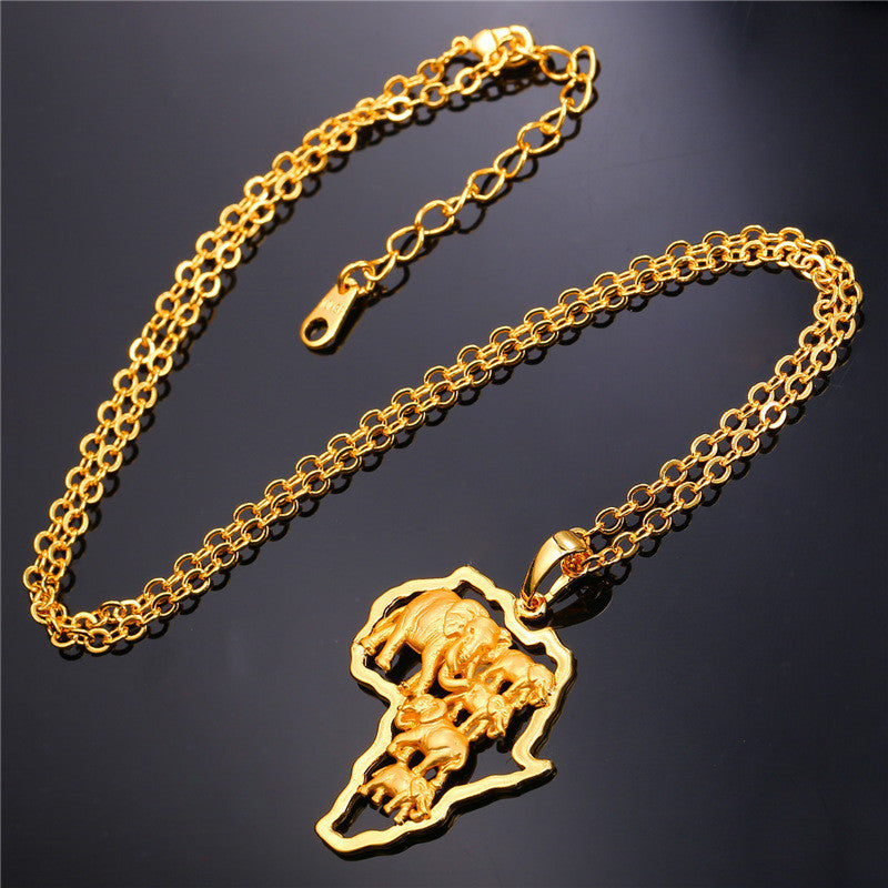 Yellow Gold Plated African Map Elephant Animal Jewelry Gift New Men/Women Ethnic Africa Pendant Necklace
