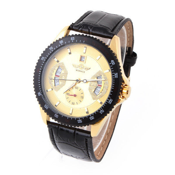 Mechanical Watches Winner Luxury brand Leather Band Skeleton watches Sports Casual Style Analog wristwatch
