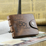Men's Vintage Wallet Bifold Brown Genuine Leather Top Purse Wallet For Men