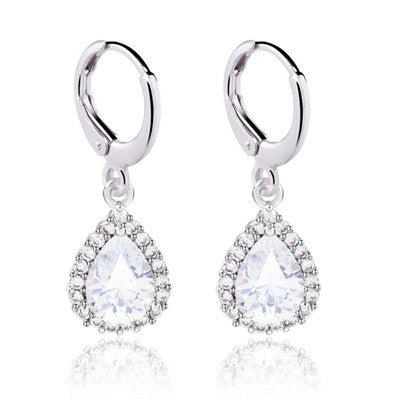 Woman/girl white gold plated small water drop crystal Zircon wedding Drop earrings fashion jewelry