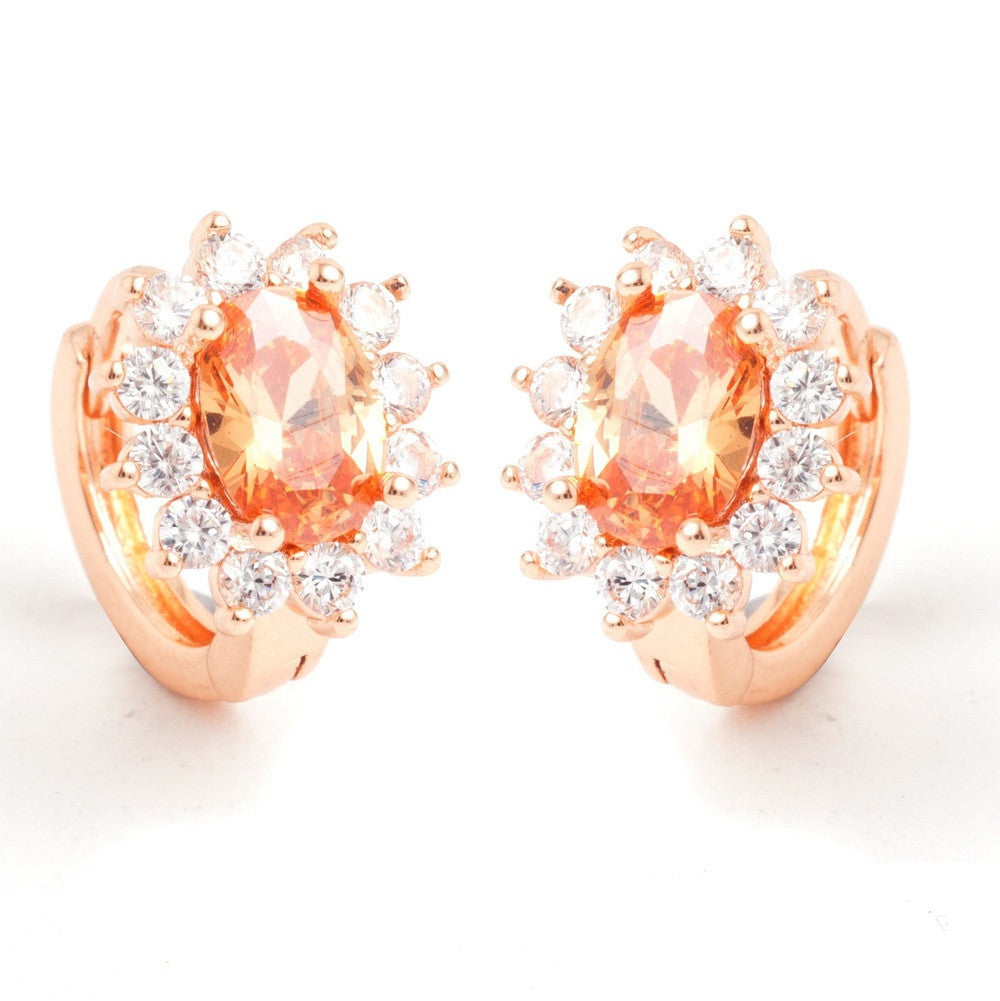 High quality CZ synthetic gemstone crystal rose gold plated fashion show hoop classic ear ring