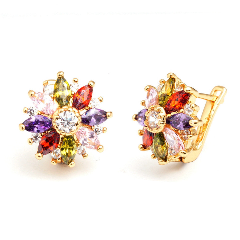 Colorful Flower Earrings for Women Zircon Crystal Hoop Fashion Brand Earrings With Gift