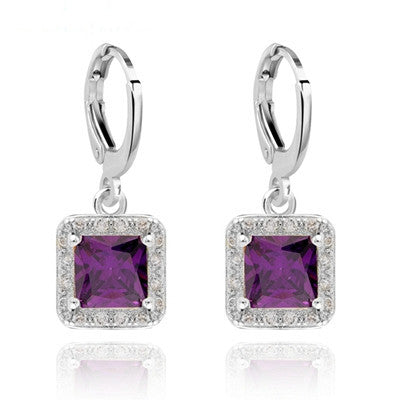 Square Style design White Gold plated CZ synthetic gemstone Drop earrings for Girls wedding Jewelry