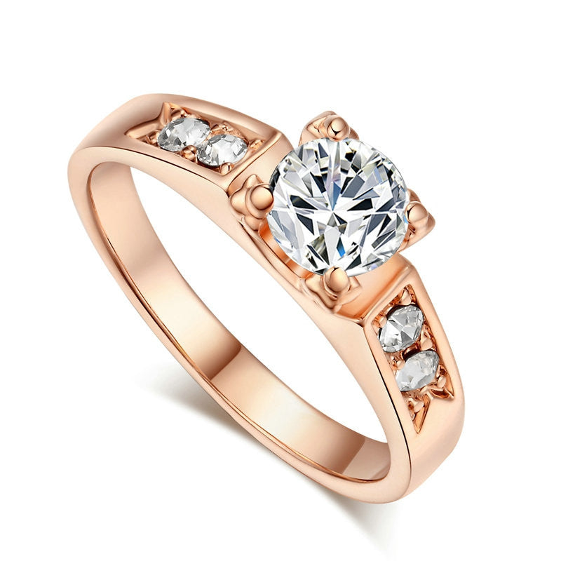 Classical 6mm Prong Setting CZ Wedding Ring Real Rose Gold & White Gold Plated Wholesale For Women