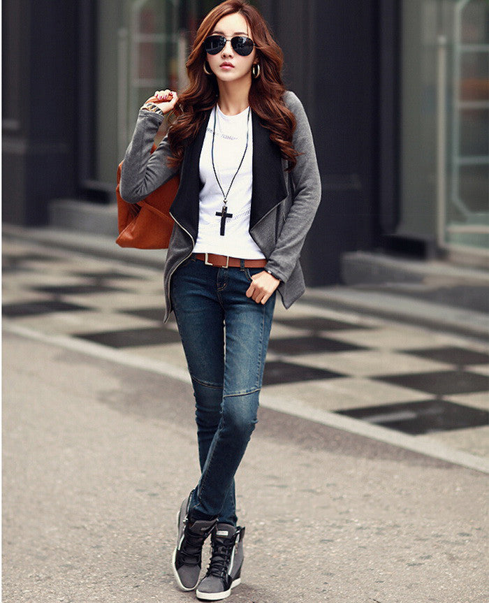 Patchwork Side Zipper Women Autumn Jacket Ladies New Korean Casual Slim Short Coat