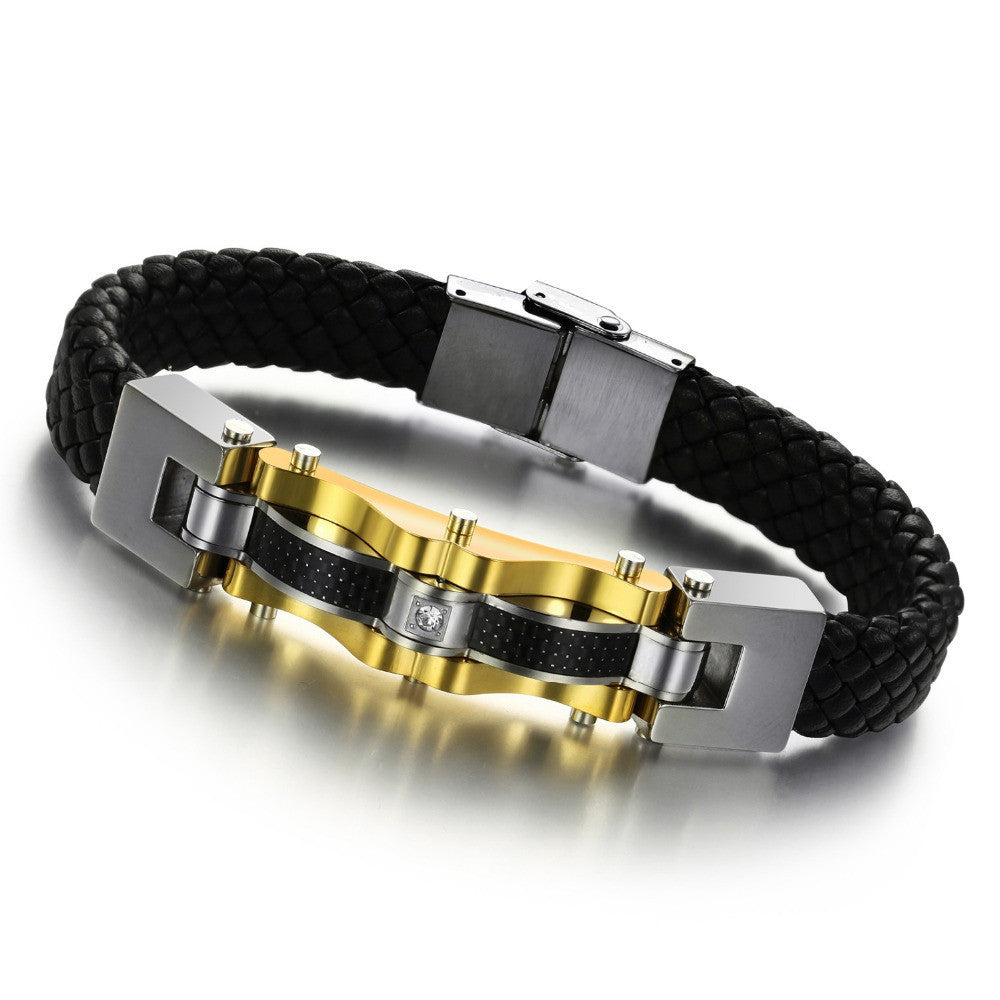 New men's vintage gold jewelry steampunk leather bracelet fashion black bangle luxury charm items