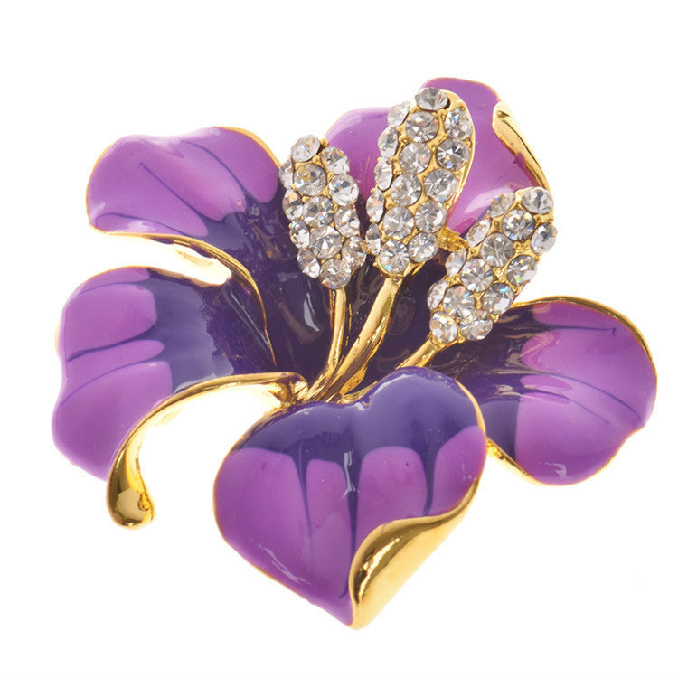 Lackingone christmas gift Enamel Brooch Rhinestone Crystal Lily Flower brooches for women