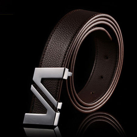 Fashion cinturones hombre brand belts for men ceinture high quality faux leather Metal buckle leather belt men
