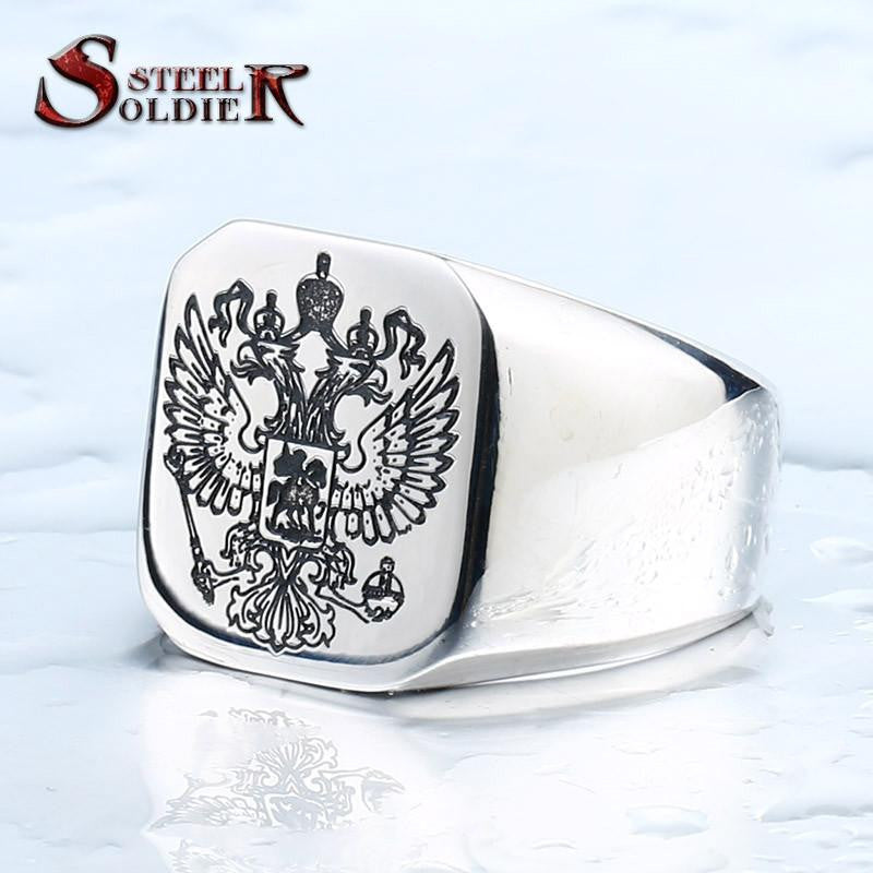 double eagle russian stainless steel ring for men fashion high quality coat of arms of the Signet biker Ring