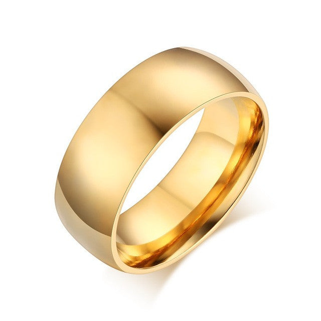 Fashion 18k gold plated ring wedding engagement rings for women and men jewelry 8.0mm stainless steel gifts