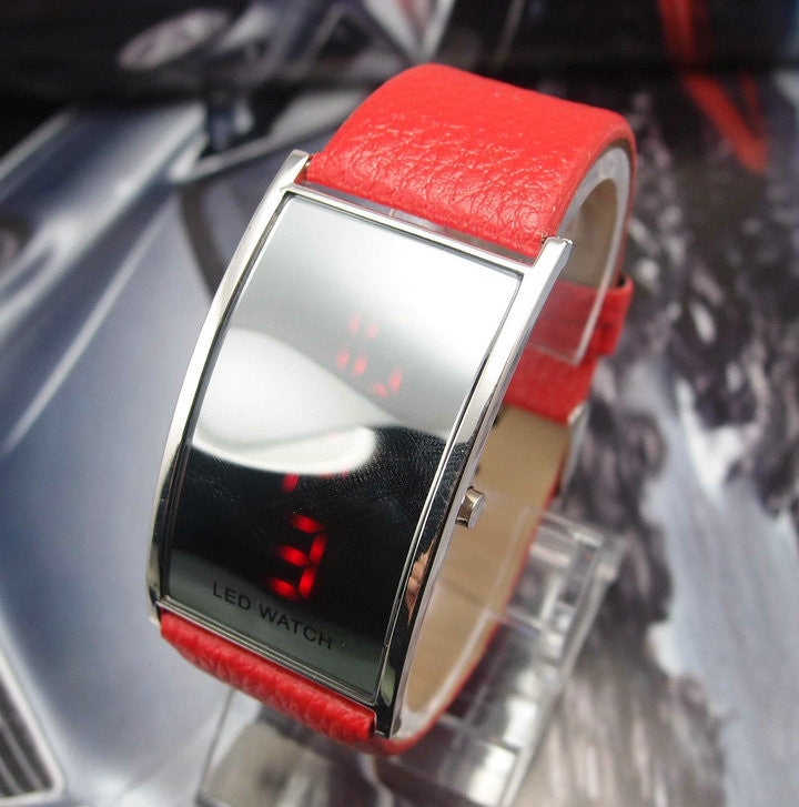 Fashion leather strap Led Digital watch Wrist watches men women Ladies watch Unisex watch