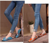 Fashion genuine leather women flats spring and autumn color block single shoes for woman casual mother shoes