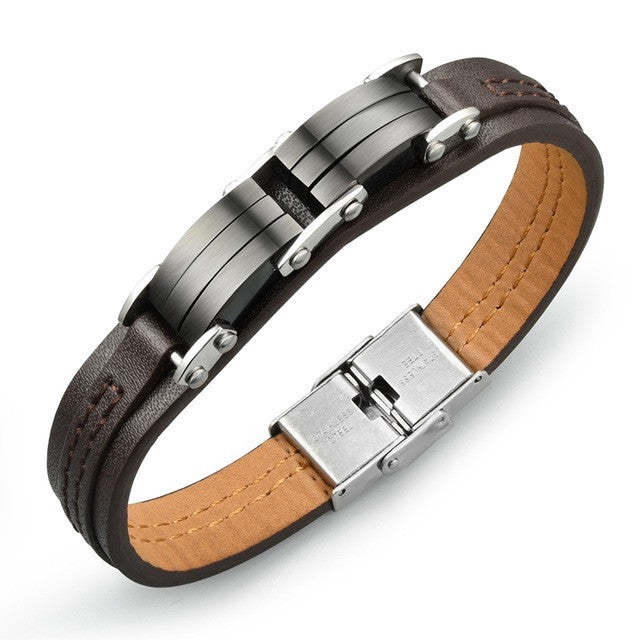 Fashion jewelry Genuine PU leather Black Men Classical bracelets Personality gifts for man creative accessories