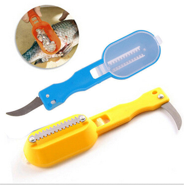 Fish scale scraper fish cleaning skin brush with base cover knife cooking Seafood tool multifunctional kitchen necessary