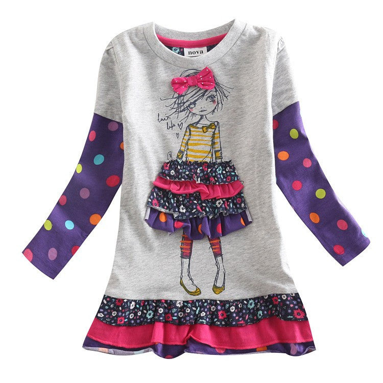 Girl dress children clothing long sleeve dress printed lovely girl for baby girl clothes princess dress tutu party dress