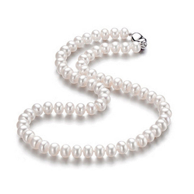 high quality natural freshwater pearl necklace for women 3 colors 8-9mm pearl jewelry 45cm