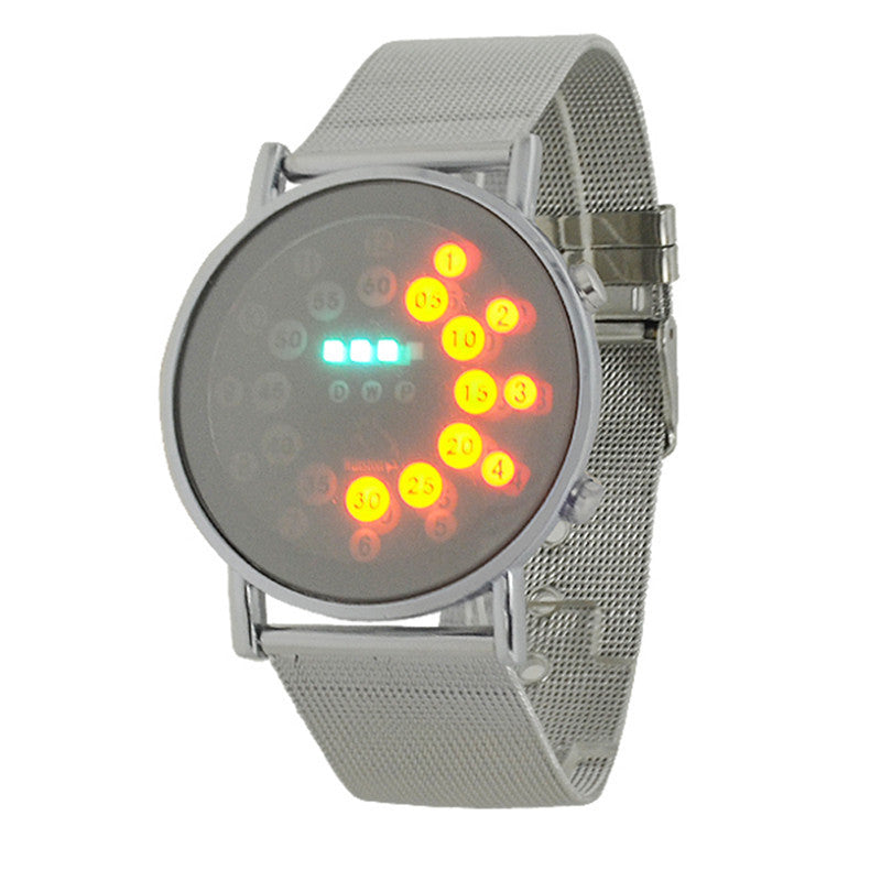 Hot mens sports blue&multi-led lights ball display silver mesh stainless steel band digital Week Date women wrist led watch