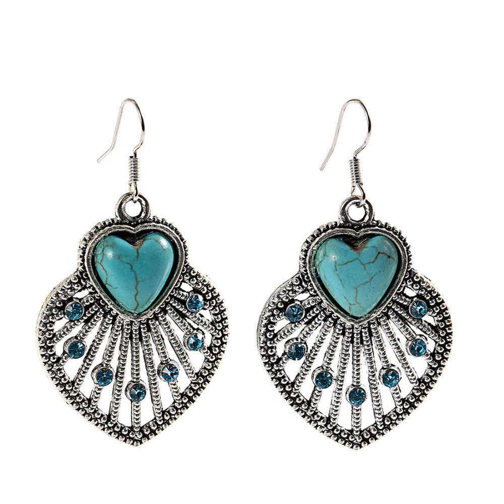Hot selling New Fashion Brand designer Simple Geometric blue gem Bohemia Retro Turquoise earrings jewelry for women