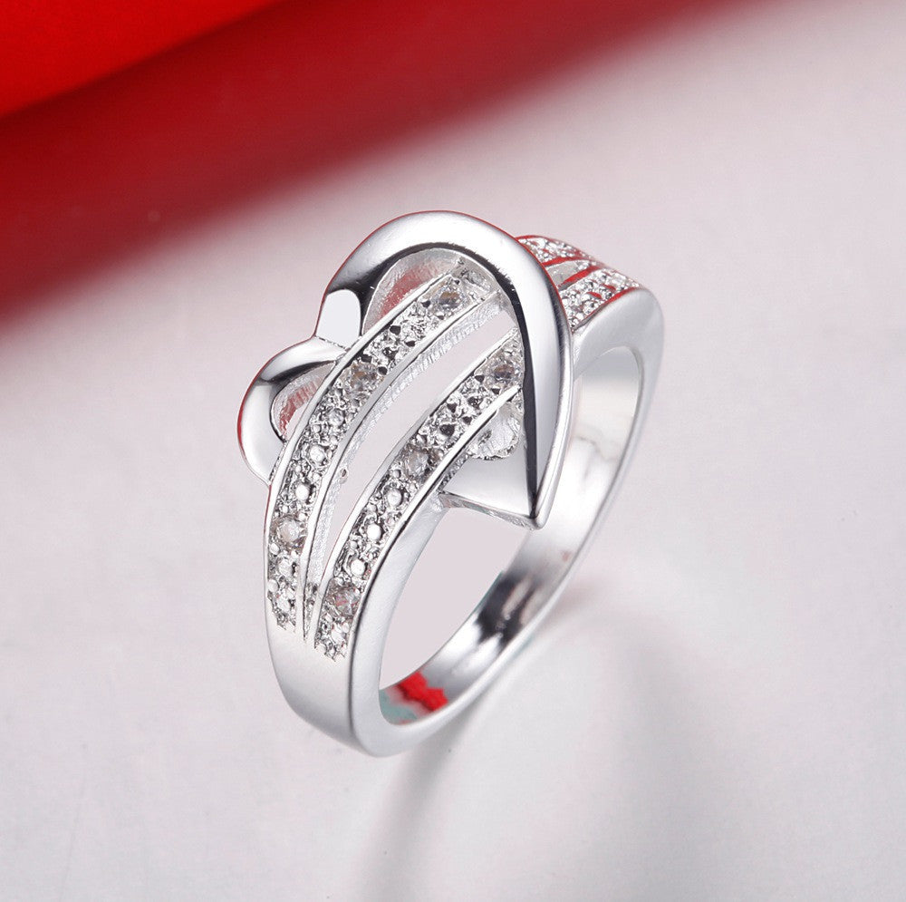 Luxury ebay top shining stainless steel heart ring,AAA zircon sterling silver love ring,Valentine's day gift