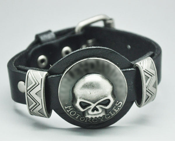 Men jewelry bracelets bangles Genuine Leather SKull Studs Genunine Leather bracelets for women