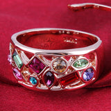 New Imitation Gemstone Statement Party Finger Rings 18K Gold Plated Brand Crystal Jewelry for women
